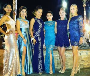Blue (and ivory) gowns designed by Kunal Ghose